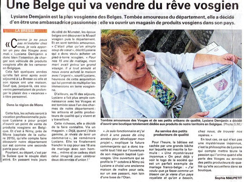 Une belge qui va vendre du rêve vosgien